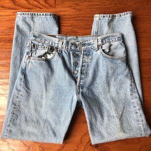 Men's Levi 501 straight leg button up blue jeans